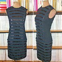 SONIA RYKIEL dress black knit lurex stripe mod 1960s FR 34 UK 6 US 2