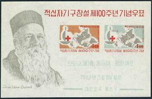 Korea South 384a,MNH.Michel Bl.181. Red Cross-100,1963.Henri Dunant.Map