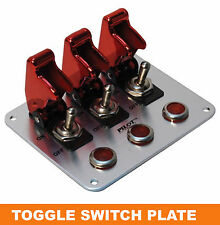 Open Box Red Anodized Safety Cover 3 Toggle Switch Boat Red Indicator Light