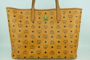 100% Authentic MCM Cognac Visetos Large Shopper Shoulder Tote Bag