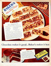 Vintage 1955 Bakers chocolate Brownie recipe advertisement print ad art