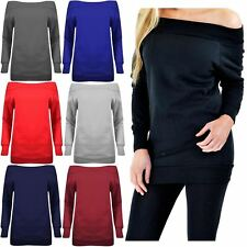 New Ladies Off Shoulder Thermal Knitwear Sweat Shirt Pullover Jumper Top 8-14