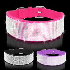 4/5cm Wide Full Bling Diamante Rhinestones Soft Suede Dog Collars Pet Necklace