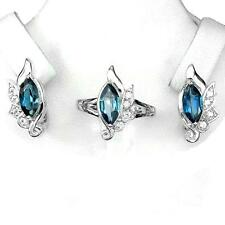 Set Blue topaz London Silver 925. Ring, earrings