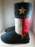 Montana Texas Pride Collection Suede  Boots With Silver Beads Size 7