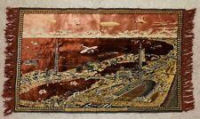 Antique tapestry CHICAGO WORLD'S FAIR htf copper color 1933 aviation cityscape