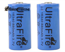 2pcs UltraFire LC16340 RCR123A 880mAh 3.6V Rechargeable Li-ion Battery Blue