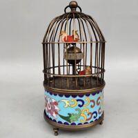 Cloisonne Brass Mechanical Clock Birdcage Shape Three Birds Alarm Clock Function
