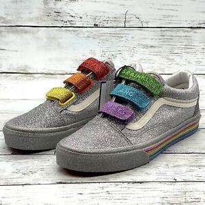 Vans x Flour Shop Old Skool V Silver Rainbow Glitter Shoes Size 7.5 Women's NEW