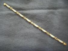 "14ct 14K 585 YELLOW GOLD & JADE PANEL BRACELET 7.25"" HALLMARKED QVC 1999"