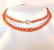 Koralle Kette Collier Korallenkette Korallen old coral necklace Collier / AE 207