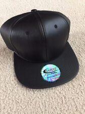 Hatco Premium Headwear Snapback Black Leather Look Hat New