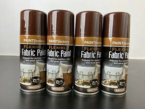 4 x Fabric Spray Paint Leather Vinyl Brown 200ml Cans