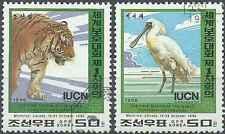Timbres Animaux Félins Tigres Oiseaux Corée 2670/1 o lot 8929
