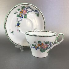 Antique Shelley Art Deco Tea Cup and Saucer Green England Bone China Teacup