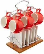 6 Pieces Espresso Cups Set With Saucers (Red) & bamboo base,3 oz