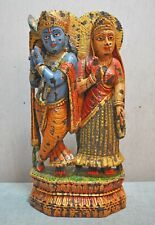 Original Old Vintage Fine Hand Carved Painted Wooden God Krishna Radha Figurine