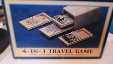 4 in 1 Wooden Board Game Set Travel Games Chess Backgammon Draughts noughts and
