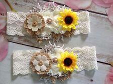 """Bridal Garter Set-wedding-lace garter-sunflower garter-handmade-15""""-plus size"""