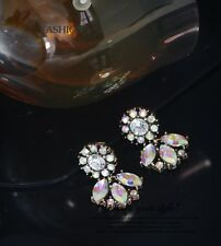 Costume Fashion Clips on Earrings Gold Dangle Little Flower AB Crystal Class J2