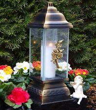 Grablaterne Grablampe Grableuchte Rose Bronze Grabschmuck inkl.Grablicht Kerze