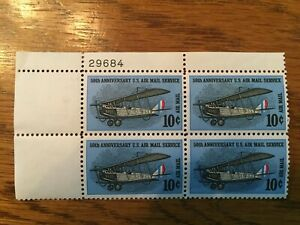 US C74 = 10c 50th Anniversary Air Mail Service - Plate Block of 4 - MINT VF NH
