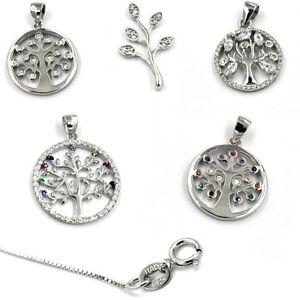 Anhänger Kette Silberkette Halskette Zirkonia Lebensbaum 925 Sterling Silber