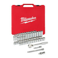 "Milwaukee 48-22-9008 56pc 3/8"" Metric & SAE Four Flat™ Socket Set w/ Ratchet"