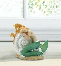 Blonde Mermaid seashell ocean Fairy princess sparkle statue sculpture figurine