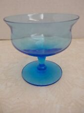 GL174 Vintage Blue Footed Glass Dessert, Sherbert, Berry Bowl FREE SHIPPING