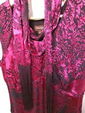 Phase Eight Size 10 Dress Damask Scarf Pink 1920s Silk Fringed Vintage Flapper
