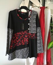 EVERSUN Red Black White Stretch Long Sleeve Tunic Top Blouse 10 BNWT $40