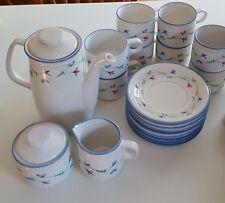 SAVOIR VIVRE PORTOFINO BLUE coffee tea pot sugar creamer & 8 cups saucers JF036