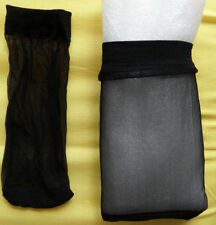 2 PAIRS WOMEN'S ANKLE SOCKS BLACK  ULTRA THIN FIBER DENIER