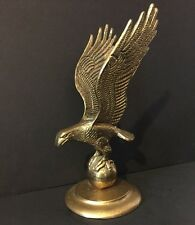 "MAJESTIC SOLID BRASS EAGLE PERCHED ON GLOBE SPHERE 10.75"" TALL HEAVY"