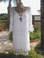 Italy 2TLG Häkel Tunika Kleid Kurz Ibiza Boho Hippie Baumwolle Weiß EG 38-40(42