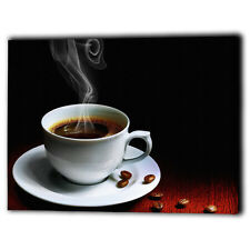 Hot Cup Of Coffee Canvas Drink Shop Framed Panel Wall Art Prints - Ready To Hang