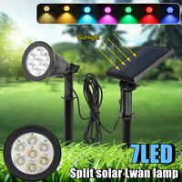 Solar Spot lights 7 Color Changing LED Garden Lawn Landscape Path Wall Lamp IP55