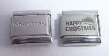 HAPPY CHRISTMAS 9mm Italian Charm + 1x GENUINE Nomination Classic Link SANTA HAT