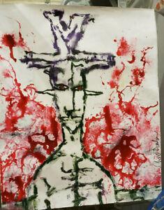 "CLIVE BARKER - untitled original art painting on paper, 14x17"" signed, unframed"