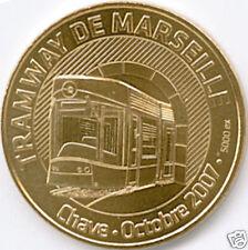 13 MARSEILLE TRAMWAY 2 TRAIN MÉDAILLE MONNAIE DE PARIS 2007 JETON MEDALS COINS
