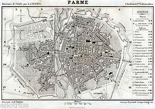 PIANTA DI PARMA: Carta Topografica. Ducato Parma e Piacenza.Acciaio.DU PAYS.1859