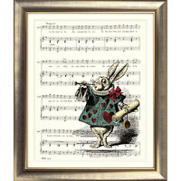 Alice in Wonderland ART PRINT ORIGINAL VINTAGE MUSIC SHEET Page WHITE RABBIT Old