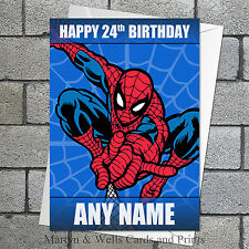 Spider-Man birthday card. Personalised. 5x7 inches, plus envelope. Spiderman.