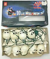 Vintage Halloween Blow Mold Skull String Lights Foremost Industries