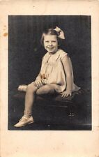 ELIZABETH CITY NC FRISBY'S STUDIO~YOUNG GIRL POSES REAL PHOTO POSTCARD 1920s
