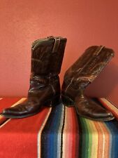 Vintage Texas Boot Company Cowboy Boots 11 1/2 D Oxblood Peacock Tooled Leather