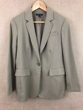 LANDS' END Womens Blazer Size 12 Lined Wool Career Jacket w/ Collar Light olive