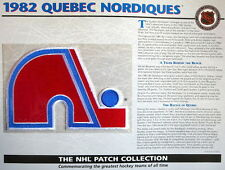 WILLABEE WARD ~ NHL THROWBACK HOCKEY PATCH & INFO CARD ~ 1982 QUEBEC NORDIQUES