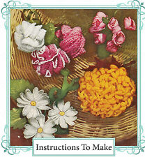 Vintage Crochet pattern-Make 4 vintage crochet flowers-daisies,carnations etc